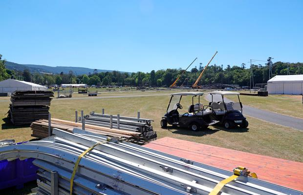 Construction workers start the construction of the stage this afternoon for upcoming Marlay Park concerts. Picture: Picture Colin Keegan, Collins Dublin