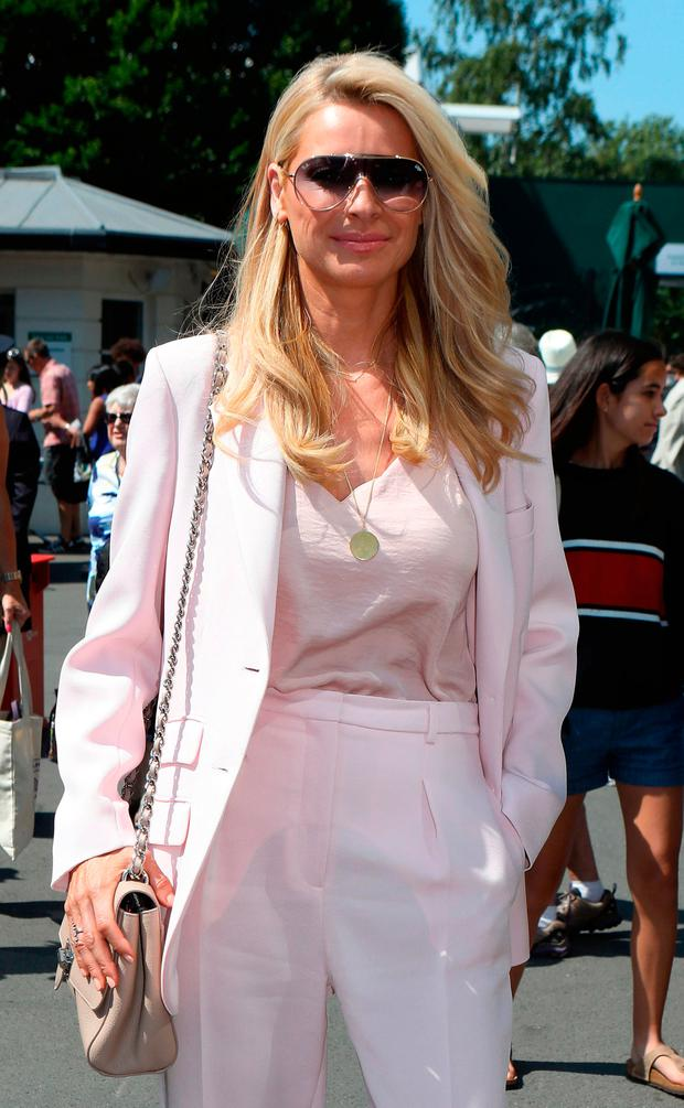 Tess Daly arrives on day two of the Wimbledon Championships at the All England Lawn Tennis and Croquet Club, Wimbledon