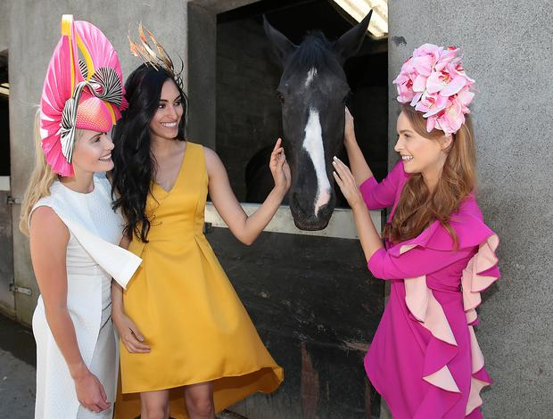 Kate Moloney,Carlha Linners and Aoife Walsh pictured as they stepped out to give a special preview of the latest in racing fashion for the launch of Galway's Galmont Hotel & Spa's programme of activity for this years horse racing festival. Picture: Brian McEvoy