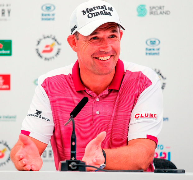 Padraig Harrington during a press conference yesterday after a practice round at Ballyliffin Golf Club in Donegal. Photo: John Dickson/Sportsfile