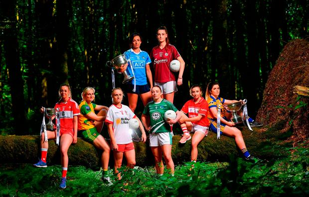 Rebecca Carr (Louth), Karen Guthrie (Donegal), Neamh Woods (Tyrone), Niamh McEvoy (Dublin), Cathy Mee (Limerick), Áine McDonagh (Galway), Melissa Duggan (Cork) and Laurie Ryan (Clare) at the launch of the revamped TG4 All-Ireland championships in Mullaghmeen Forest, Co Westmeath. Photo: Seb Daly/Sportsfile