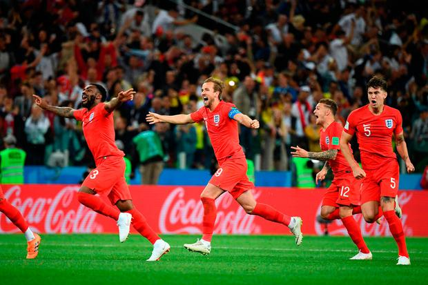 England's team players celebrate after winning at the end of to the Russia 2018 World Cup round of 16 football match between Colombia and England at the Spartak Stadium in Moscow on July 3, 2018. / AFP PHOTO / FRANCK FIFE / RESTRICTED TO EDITORIAL USE - NO MOBILE PUSH ALERTS/DOWNLOADSFRANCK FIFE/AFP/Getty Images