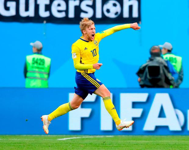 Emil Forsberg celebrates after scoring Sweden's winning goal. Photo: Alexander Hassenstein/Getty Images