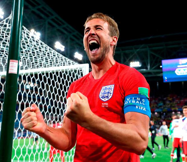 Harry Kane celebrates England's win. Photo: Ryan Pierse/Getty Images