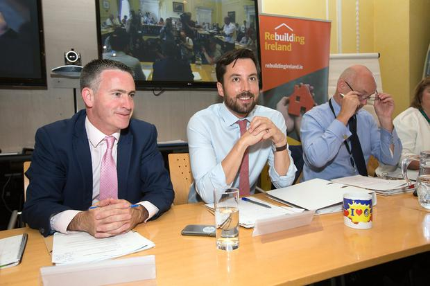 Minister of State Damien English and Housing Minister Eoghan Murphy at a housing summit in the Custom House. Picture: Tony Gavin
