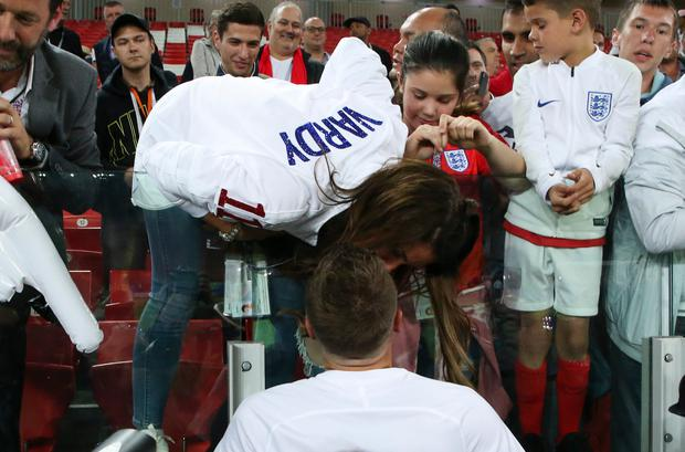 MOSC Jamie Vardy of England kissing his wife Rebekah Vardy following the 2018 FIFA World Cup Russia Round of 16 match between Colombia and England at Spartak Stadium on July 3, 2018 in Moscow, Russia. (Photo by Jean Catuffe/Getty Images)