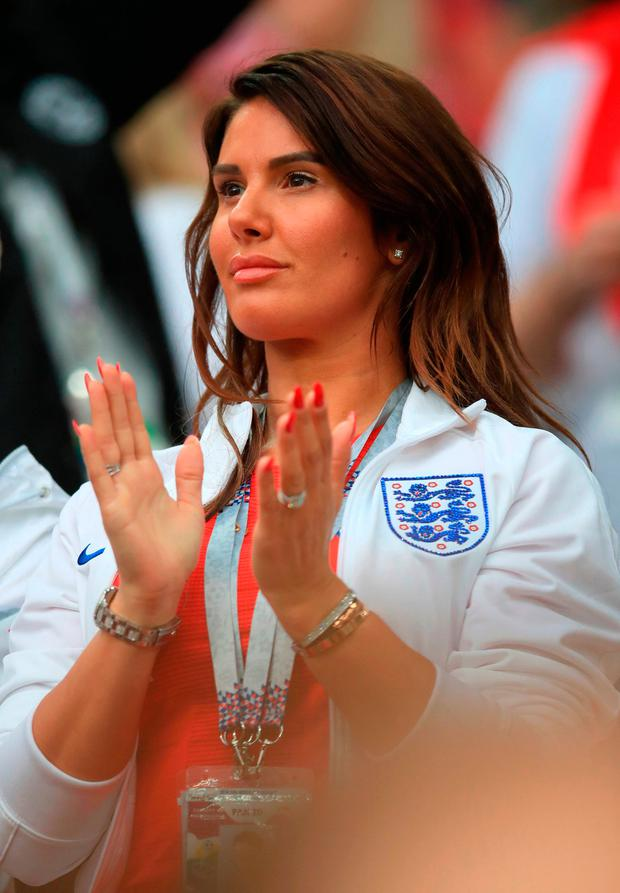 Rebekah Vardy in the stands ahead of the FIFA World Cup 2018, round of 16 match at the Spartak Stadium, Moscow