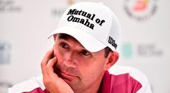 Padraig Harrington of Ireland during a press conference ahead of the Dubai Duty Free Irish Open Golf Championship at Ballyliffin Golf Club in Ballyliffin, Co Donegal. Photo by Oliver McVeigh/Sportsfile