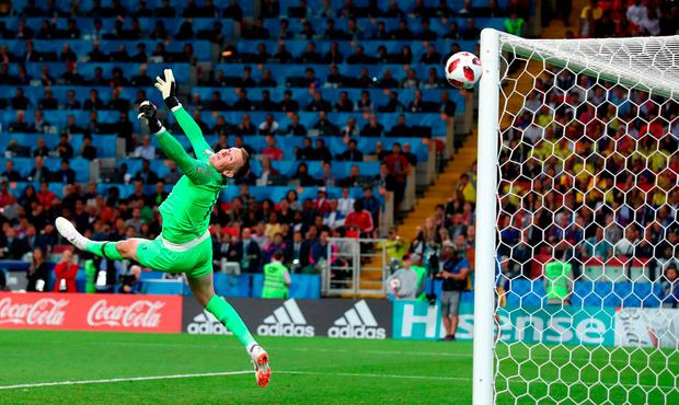 Jordan Pickford of England makes his incredible save