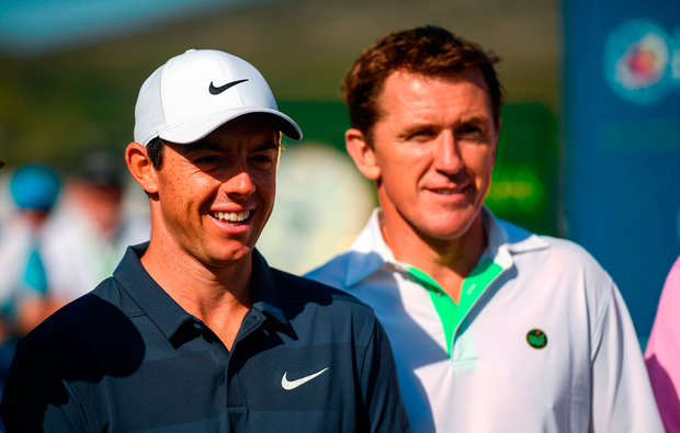 Rory McIlroy, left, of Northern Ireland and former jockey AP McCoy during the Pro-Am round ahead of the Irish Open Golf