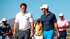 Rory McIlroy and former champion jockey AP McCoy. Picture: Getty