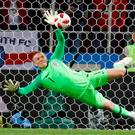 Jordan Pickford's saves Carlos Bacca's penalty to give England the edge in Tuesday's shoot-out. Photo: REUTERS