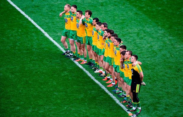 The Donegal team stand together for the national anthem ahead of their 2016 All-Ireland quarter-final against Dublin at Croke Park. Photo: Daire Brennan/Sportsfile