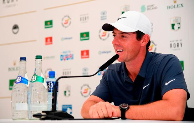 Rory McIlroy talking to the press during the pro-am event prior to the Dubai Duty Free Irish Open at Ballyliffin Golf Club, Donegal, Ireland. Photo: Ross Kinnaird/Getty Images