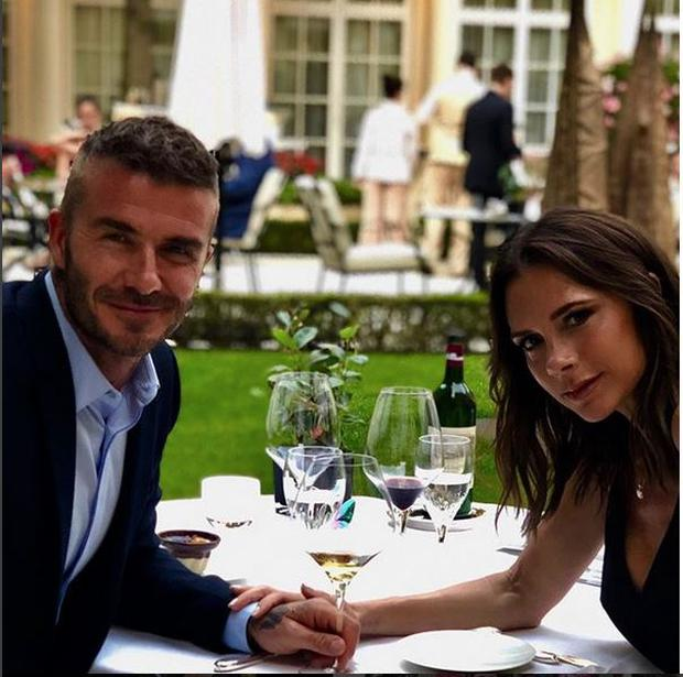 David and Victoria Beckham enjoying a meal on their anniversary Photo: Instagram