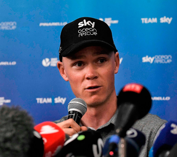 Chris Froome speaking at a press conference yesterday Photo: AFP/Getty