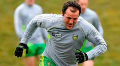 Michael Murphy warming up for Donegal. Allianz Football League Division 1 Round 7, Monaghan v Donegal. St Mary's Park, Castleblayney, Co. Monaghan. Picture credit: Philip Fitzpatrick / SPORTSFILE