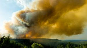 A fire rages on land in the Slive Bloom mountains.