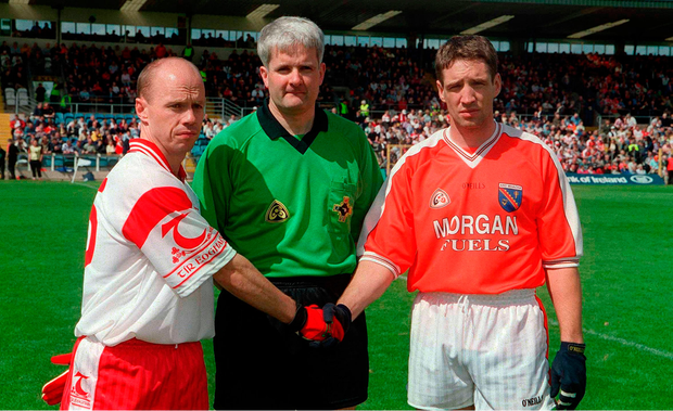 Peter Canavan with McGeeney as captains of Tyrone v Armagh in the Ulster SFC of 2002. Picture credit: Pat Murphy / Sportsfile