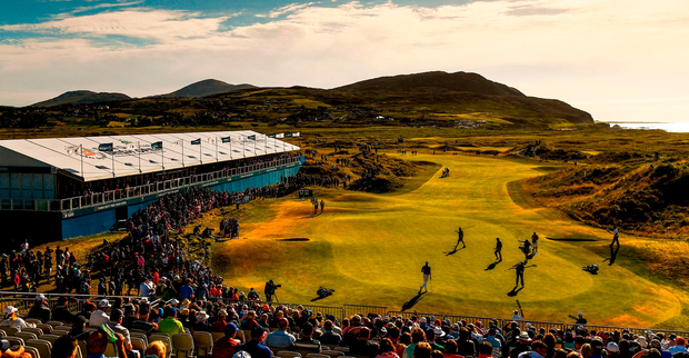 A general view of the 18th green at Ballyliffin yesterday. Photo: Ramsey Cardy/Sportsfile