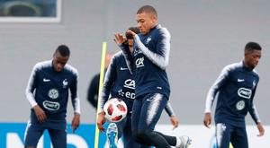 Kylian Mbappe in action during training ahead of the World Cup semi-final against Uruguay. Image: AP Photo/David Vincent