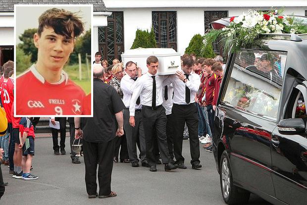 The funeral of Luke O'Brien-May (inset) in Castletroy, Co Limerick, last year. Photo: Press 22
