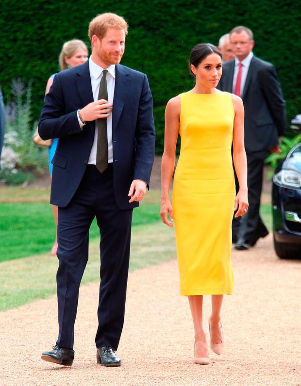 Prince Harry, Duke of Sussex and Meghan, Duchess of Sussex arrive to attend the Your Commonwealth Youth Challenge reception at Marlborough House on July 05, 2018 in London, England. (Photo by Yui Mok - WPA Pool/Getty Images)