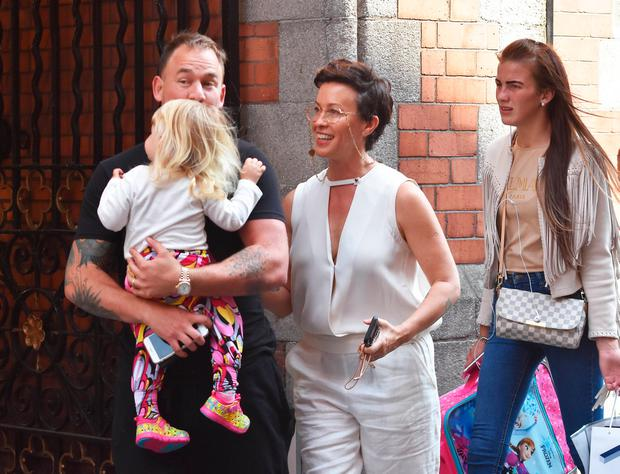 Alanis Morissette spotted out walking in Dublin City Centre with husband Souleye (Mario Treadway) and their daughter Onyx Solace Morissette-Treadway ahead of her concert in Iveagh Gardens. Picture: Cathal Burke / VIPIRELAND.COM