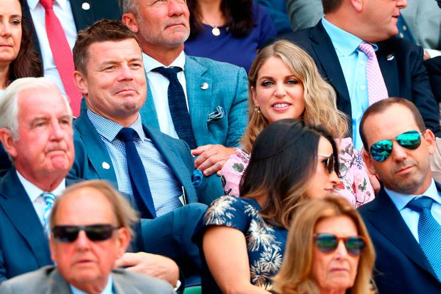 (L-R) Brian O'Driscoll and wife Amy Huberman attend day five of the Wimbledon Lawn Tennis Championships at All England Lawn Tennis and Croquet Club on July 6, 2018 in London, England. (Photo by Matthew Stockman/Getty Images)