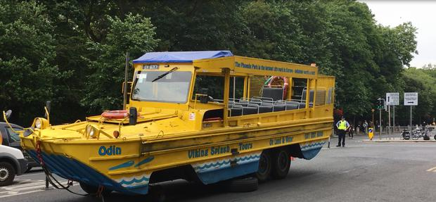 A Viking Splash tour bus broke down in Dublin city centre. Picture: Damien Eagers