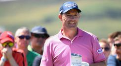 Padraig Harrington of Ireland smiles on the first tee during the second round of the Dubai Duty Free Irish Open at Ballyliffin Golf Club on July 6, 2018 in Donegal.