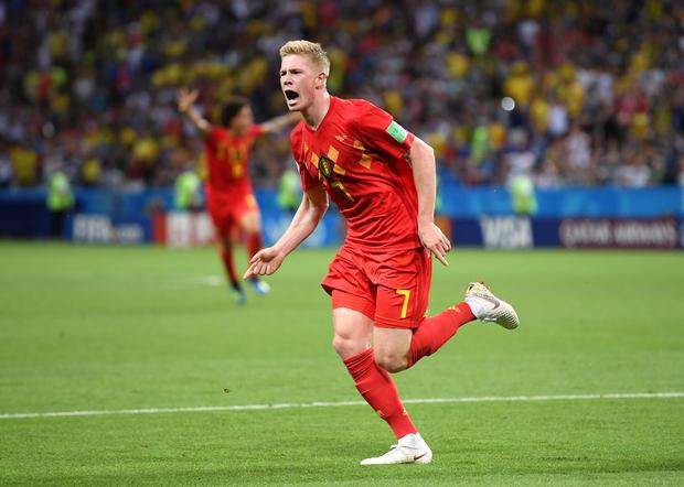 Kevin De Bruyne of Belgium celebrates after scoring his team's second goal during the 2018 FIFA World Cup Russia Quarter Final match between Brazil and Belgium at Kazan Arena on July 6, 2018 in Kazan, Russia.