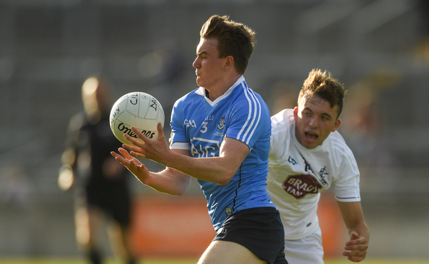 Nathan Doran of Dublin in action against Brian McLoughlin of Kildare during the EirGrid Leinster GAA Football U20 Championship Final match between Kildare and Dublin at Bord na Móna O'Connor Park in Tullamore, Co Offaly.