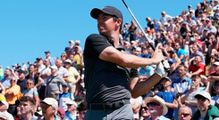 Rory McIlroy teeing off on the eighth. Photo: Getty Images