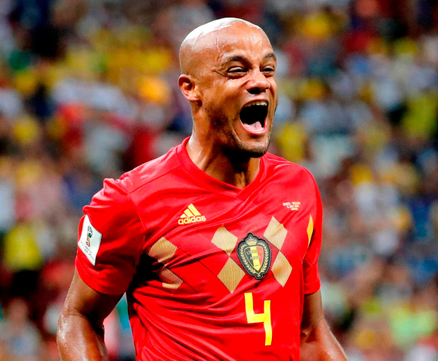 Vincent Kompany celebrates after Belgium stunned Brazil to reach the World Cup semi-final. Photo: Reuters