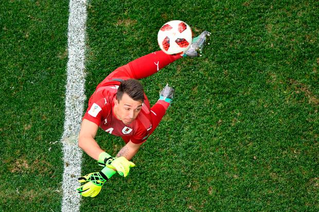 Uruguay's Fernando Muslera fumbles the ball into his own net. Getty Images