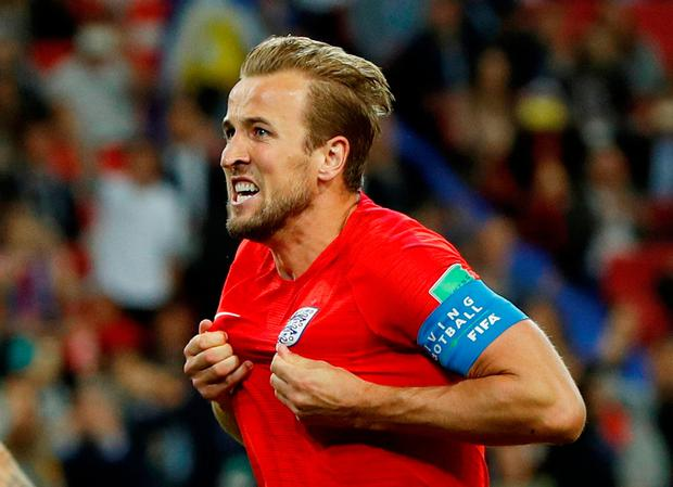 FILE PHOTO: Soccer Football - World Cup - Round of 16 - Colombia vs England - Spartak Stadium, Moscow, Russia - July 3, 2018 England's Harry Kane celebrates scoring their first goal REUTERS/John Sibley/File Photo