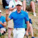 Rory McIlroy gestures during the third round