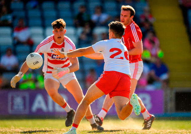 Ronan O'Neill of Tyrone scores his side's second goal