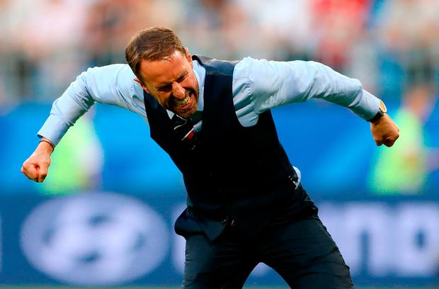 England manager Gareth Southgate celebrates after his side beat Sweden in the World Cup, Quarter Final showdown. Photo: Tim Goode/PA