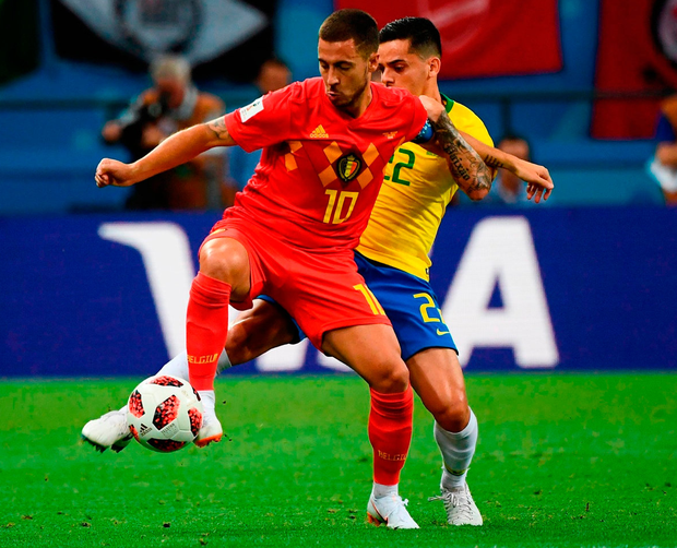 Eden Hazard does not necessarily have a reputation for industry, but against Brazil he ran until he could run no more. Photo: Getty Images