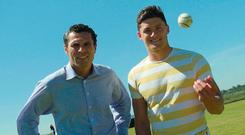 Seán Óg Ó hAilpín (left) and Lee Chin share small-ball stories at Centra's 'We Are Hurling' campaign in Cork