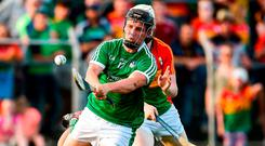 Peter Casey of Limerick scores his side's fifth goal against Carlow. Photo: Matt Browne/Sportsfile