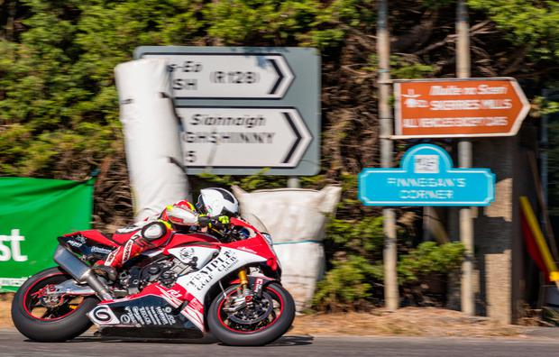 CRASH: William Dunlop putting his bike through its paces at the Skerries 100 yesterday. Picture: Adrian Crawley