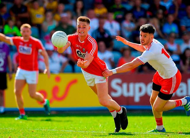Kevin Flahive of Cork in action against Conor Meyler of Tyrone. Photo: Brendan Moran/Sportsfile