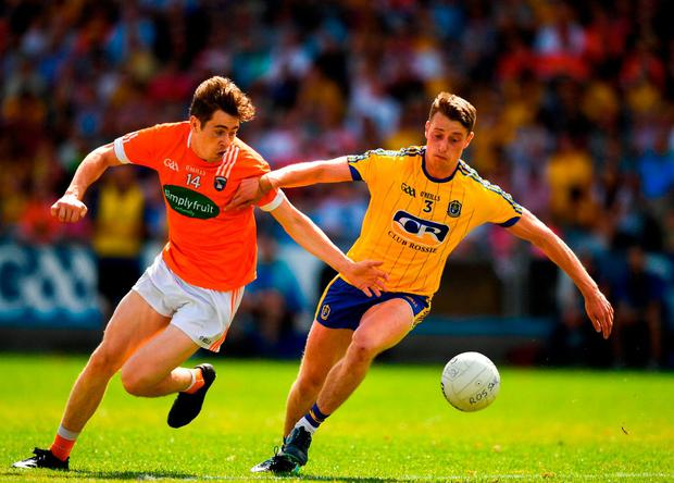 Andrew Murnin of Armagh in action against Niall McInerney of Roscommon. Photo: Eóin Noonan/Sportsfile