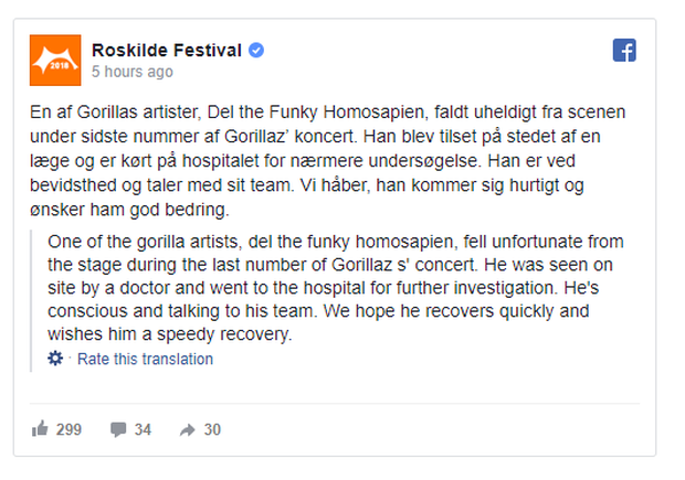 Gorillaz rapper falls from stage in Denmark