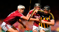Richie Hogan of Kilkenny in action against Daithí Burke of Galway