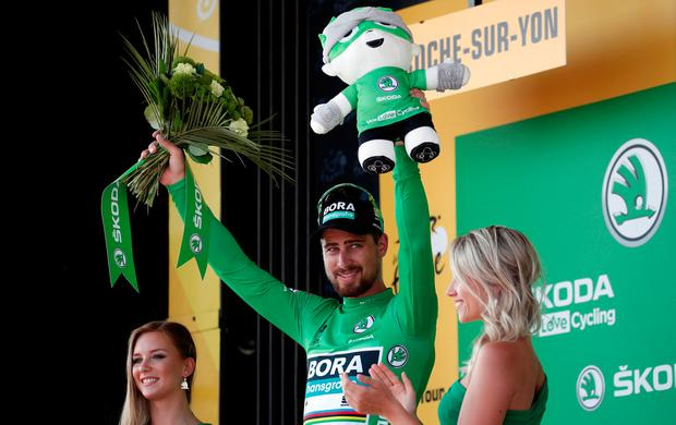Peter Sagan of Slovakia celebrates on the podium