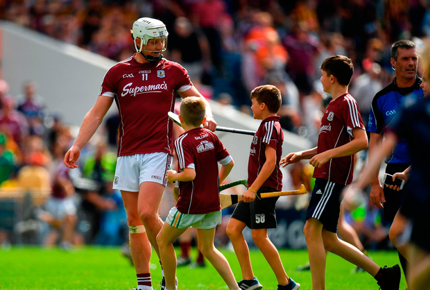 Joe Canning of Galway with young fans after beating Kilkenny